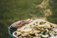 Barbecueing sausages and vegetables on a meadow - JSCF00129