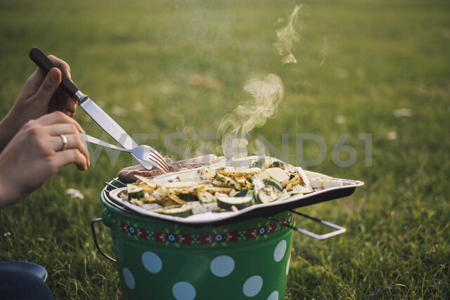 Woman eating barbecued sausages and vegetables on a meadow, partial view - JSCF00132 - Jonathan Schöps/Westend61
