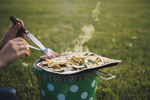 Woman eating barbecued sausages and vegetables on a meadow, partial view - JSCF00132
