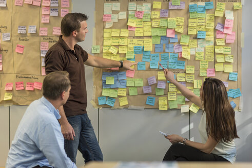 Colleagues discussing with sticky notes at wall in office - PAF01883