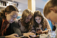 Serious tween girl friends texting with smart phones, hanging out at cafe table - HEROF20177