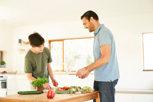 Boy and his father preparing food at kitchen counter - CUF48513