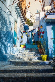 Blue painted house exteriors on stairway, Chefchaouen, Morocco - CUF48765