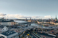 Bridges, railway tracks, church tower, cityscape and water canal, Stockholm, Sweden - CUF48966