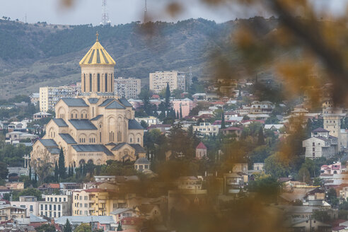 Georgia, Tbilisi, view on Sameba cathedral in autumn - KEBF01092