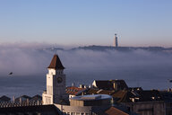 Portugal, Lisbon, View to Tagus River in the morning, Cristo-Rei Statue in Almada seen from Baixa - FCF01673