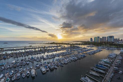 USA, Hawaii, Oahu, Honolulu, Ala Wai Boat Harbor at sunrise - FOF10310