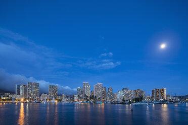 USA, Hawaii, Oahu, Honolulu and Ala Wai Boat Harbor at blue hour - FOF10322