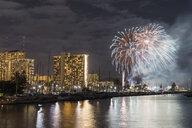 USA, Hawaii, Oahu, Honolulu at night with fireworks - FOF10325