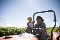 Grandfather farmer and granddaughter driving tractor on sunny farm - HEROF20897