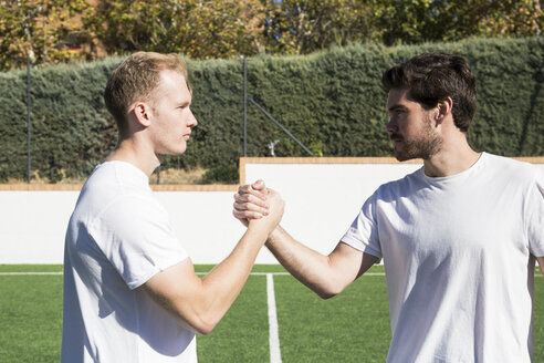 Soccer players shaking hands in a soccer field. - ABZF02219
