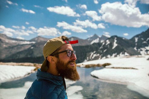 Hiker exploring Mineral King, California, United States - ISF20883