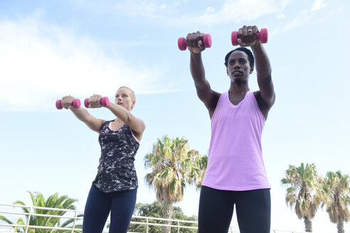 Two women doing fitness exercises with dumbbells outdoors - ECPF00469