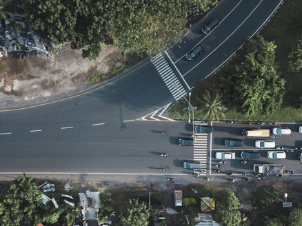 Indonesia, Bali, Sanur, Aerial view of cars and motorbikes on the road - KNTF02660
