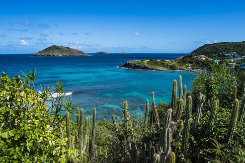 Overlook over the coastline of St Barth or Saint Barthelemy, Greater Antilles - RUNF01259