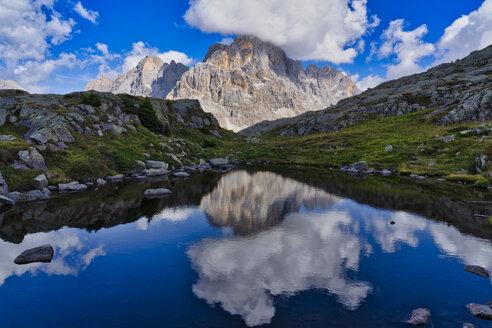 Italy, Veneto, Dolomites, Rolle pass,  Cimon de la Pala reflected in a small lake - LOMF00798