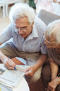 High angle view of senior couple doing crossword puzzle in newspaper at nursing home - MASF11144