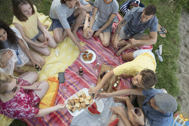 Overhead view friends and family enjoying summer picnic - HEROF23130