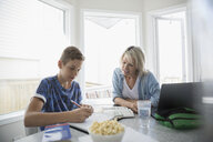 Mother at laptop helping pre-adolescent son doing homework at kitchen table - HEROF23160