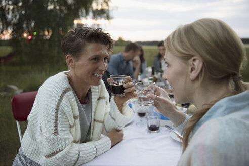 Smiling women friends drinking wine at summer garden party dinner - HEROF23259