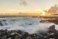USA, Hawaii, Kauai, Pacific Ocean, South Coast, Kukuiula Bay at sunset - FOF10419