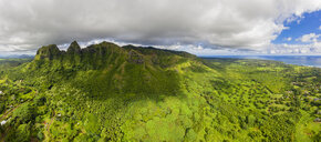 USA, Hawaii, Kauai, Kalalea Mountain, Hole in the Mountain, Aerial View - FOF10440