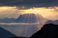 Austria, Tyrol, Kramsach, View from Rofan Mountains to Kaiser Mountains, Wilder Kaiser at sunrise - CVF01120