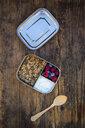 Breakfast box with granola, quinoa nuts, greek yogurt, blueberries and raspberries - LVF07793
