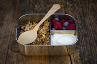 Breakfast box with granola, quinoa nuts, greek yogurt, blueberries and raspberries - LVF07796