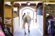 Rear view of horse and woman walking towards doorway in stable - ASTF03355