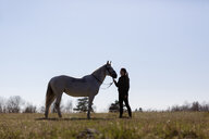 Woman looking at horse while standing on field against clear sky - ASTF03364