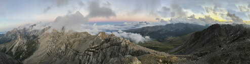 Italy, Veneto, Dolomites, Alta Via Bepi Zac, Sunset on Pale di San Martino - LOMF00802