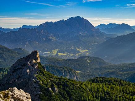 Italy, Veneto, Dolomites, Giau Pass, Cortina d'Ampezzo and Cristallo at sunrise - LOMF00829