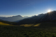 Italy, Veneto, Dolomites, Giau Pass, Cristallo and Lastoi de Formin at sunrise - LOMF00838