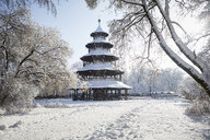 Germany, Munich, English Garden, snow-covered Chinese Tower - RB07009