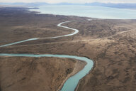 Argentina, Patagonia, Drone view of Lago Argentino and its tributary rivers at dry season - IGGF00768