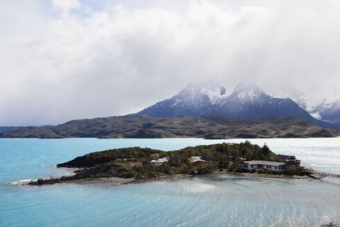 Landscape of river and mountains of Torres del Paine National Park, Patagonia, Chile. - IGGF00771