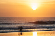 Indonesia, Bali, Sunset at ocean, surfer at the beach - KNTF02666