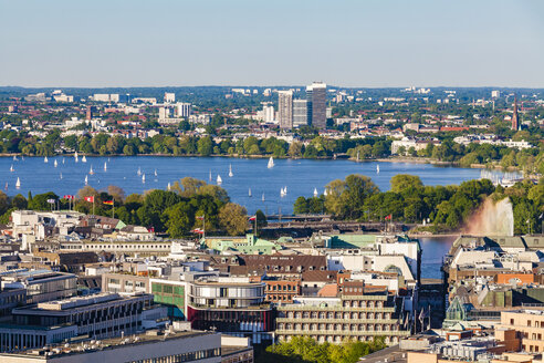 Germany, Hamburg, View of Neustadt with sailing boats on Binnenalster - WDF05108