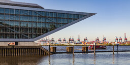Germany, Hamburg, Altona,  View of harbour, cranes and ships - WDF05123