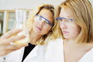 Female students performing experiment in science classroom - ASTF03991
