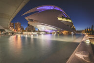Spain, Valencia, lighted Palau de les Arts Reina Sofia at City of Arts and Sciences in the evening - KEB01165