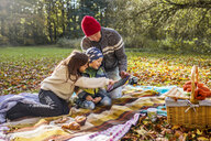 Father and children using digital tablet on picnic blanket in forest - ASTF04618