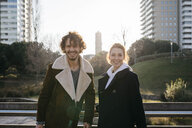 Portrait of happy couple in the city - JRFF02690