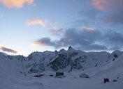 Switzerland, Great St Bernard Pass, Pain de Sucre, winter landscape in the mountains at dusk - ALRF01395