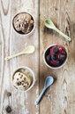 Studio, verschiedene Sorten (Schokolade, Frucht und Erdnuss) Eis aus gefrorenen Bananen (