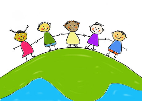 Children's drawing of five smiling children standing hand in hand on mother earth - WWF04906