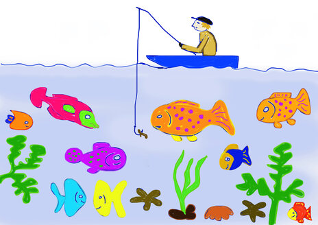 Children's painting of man in a boat fishing - WWF04912