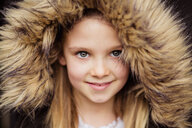 Portrait of smiling girl with plush hood - NMS00292