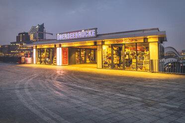 Germany, Hamburg, Vorsetzen, Ueberseebruecke with Elbphilharmonie in background - KEB01208